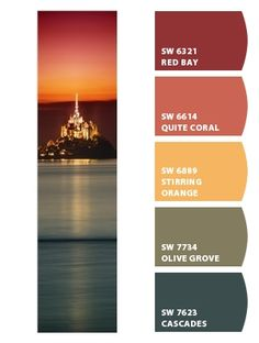 bold deep powerful sunset city lights oranges reds warm greige taupe greenish navy pueblo rustic fall mojave desert western basement living room dining room kitchen spare room branding marketing scheme palette Paint colors from #ChipIt by #SherwinWilliams