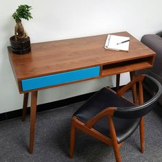 Mid Century Walnut Desk With Colored by FlintAlleyFurniture Mid Century Desk, Mid Century Modern Design, Cubbies, Office Desk, Corner Desk, Mid-century Modern, Solid Wood, Drawers, Wood Storage