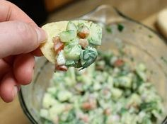 Crisp Cucumber Salsa: Note: 1/4 cup is only 16 calories!