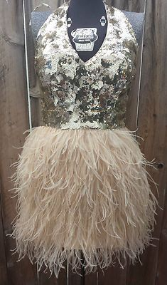 BEBE ostrich feather and sequin dress
