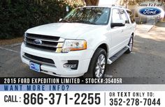 2015 Ford Expedition Limited - V6 3.5L Engine - Alloy Wheels - Tinted Windows - Fog Lights - Roof Racks - Hitch Receiver - Leather Seats - Powered Controls - Folding 2nd and 3rd Row Seating - AM/FM/CD/MP3 - iPod/AUX - USB Port - Bluetooth - SYNC by Microsoft - Remote / Push Button Start - SD Card Navigation - Heated Front Seats - Sunroof - Backup Camera and Sensor - Ambient Lighting - Cooled Front Seats - Running Boards - Digital Compass - Outside Temperature Display - Cruise Control and…