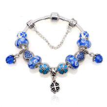Plata de moda plateó encantos del grano cristal pulseras Clover Pendant Fit mujeres Pandora pulseras y brazalete DIY joyería YW15314(China (Mainland))