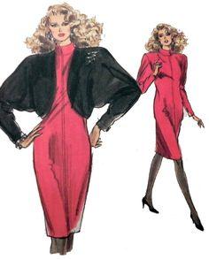 1980s Batwing Dress and Bolero Jacket sewing by retroactivefuture, $9.00