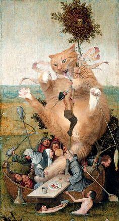 "Hieronymus Bosch, The Ship of Fools, true version / Иероним Босх, ""Корабль… Hieronymus Bosch Paintings, Photos Originales, Fat Cats, Medieval Art, Surreal Art, Cat Art, Oeuvre D'art, Art History, Art Gallery"