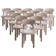 Set of 15 Solid Pine Chairs, with tilt backs, Denmark 1970s | From a unique collection of antique and modern chairs at https://www.1stdibs.com/furniture/seating/chairs/