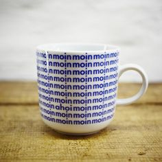 Items similar to MOIN porcelain coffee mug, tea cup by Ahoi Marie - nautical cup - maritime style - blue and white - navy blue on Etsy Nautical Gifts, Solid Wood Furniture, Porcelain Ceramics, Handmade Design, Coffee Break, Tea Cups, Coffee Mugs, Blue And White, Navy Blue