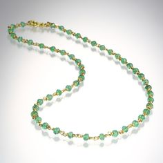 """Warm, rich 20k peach gold combined with pale, smooth emerald beads lend this Reinstein/Ross """"Isabella"""" necklace an understated elegance that leaves a lasting impression. <br><br>Total length is 20.5""""."""