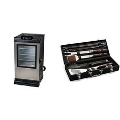 Masterbuilt 20072115 Bluetooth Smart Digital Electric Smoker, 30-Inch with Cuisinart Grilling Set