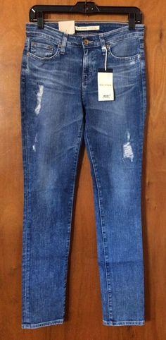 NWT BIG STAR BRIGETTE Jeans Size 27 Mid Rise Slim Straight Distressed Denim Pant #BigStar #SlimSkinny