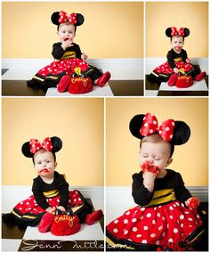 Baby Photographer; one year old; minnie mouse; cake smash