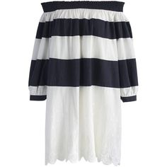 Chicwish Funfair Stripe Off-shoulder Dress (779.590 IDR) ❤ liked on Polyvore featuring dresses, white, white bohemian dress, summer dresses, white dress, white embroidered dresses and stripe dresses
