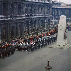 The State Funeral of Sir Winston Churchill, Knight of the Garter, pass the Cenotaph in Whitehall, London 1965