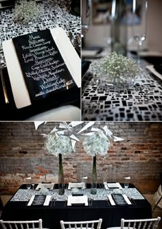 white chairs, black table cloth, black/white runner, bling centerpieces.