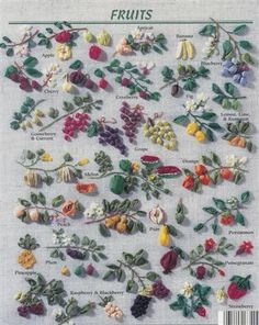 ribbon embroidery stitches | encyclopedia of ribbon embroidery fruits vegetables herbs designs by ...