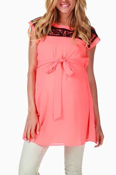 Coral Embroidered Neckline Maternity Blouse
