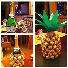 Ferrero Rocher and Wine Pineapple Diy Arts And Crafts, Crafts To Do, Wine Pineapple, 4th Wedding Anniversary, Gold Tissue Paper, Diy Christmas Gifts, Event Decor, Diy Gifts, Gift Wrapping