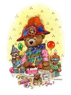Teddy Bear - By: Greg Giordano Artist Teddy Bear Cartoon, My Teddy Bear, Cute Cartoon, Animated Clipart, Teddy Bear Birthday, Decoupage, Creation Photo, Baby Painting, Gifs