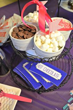 DIY Hot Chocolate station for a party. Such a simple and budget friendly addition to your party.