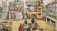 A 19th-century print of a French country kitchen