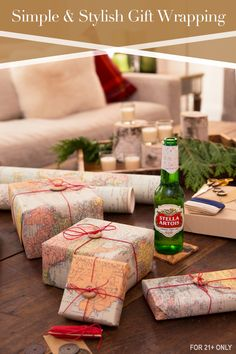 No wrapping paper? If you need some inspiration, you can find it with a map. Use an old map to wrap a last-minute present in a fun and unique way. Then, give yourself a gift - a cold Stella Artois.