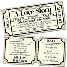 Vintage Retro Cinema Ticket Style Wedding Invitation & RSVP