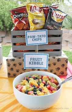 Simply Beautiful By Angela: Paw Patrol Birthday Party. Food Paw-tato Chips and Fruit Kibble
