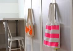 DIY Neon Painted, BOXED-out TOTES by danamadeit #DIY #Tote