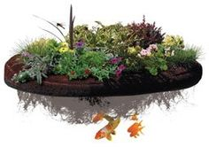 Make your own floating island! Instructions for a cheap floating pond planter island! Floating Pond Plants, Floating Garden, Backyard Water Feature, Ponds Backyard, Garden Ponds, Pond Landscaping, Landscaping Supplies, Real Plants, Water Plants