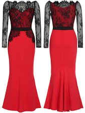 Womens Lace Long Maxi Prom Formal Cocktail Evening Ball Gown Dress 8 10 14 16 18
