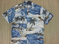 c3d8892e30083e Hawaiian Shirt Men ROYAL CREATIONS Vintage Aloha Shirt Beach Surfer  Tropical Print Island Wear 100% Cotton Camp - M - Oahu Lew's Shirt Shack
