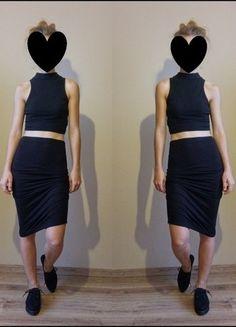 Kup mój przedmiot na #vintedpl http://www.vinted.pl/damska-odziez/spodnice/13544095-crop-top-spodnica-midi-czarne-rozmiar-36