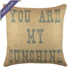 Handmade burlap pillow.   Product: PillowConstruction Material: 100% Burlap coverColor: Blue and beige...