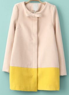 Pink Long Sleeve Bow Contrast Yellow Woolen Coat