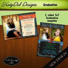 INSTANT DOWNLOAD Floral Turquoise Metallic  5x7 Senior Graduation Announcement Templates/PSD files. $3.50, via Etsy.