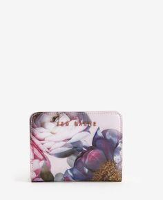 Sunlit Floral crosshatch leather purse