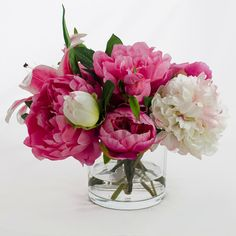 Silk Peonies Arrangement with Casablanca Lily Fuchsia by flovery #icy blue #living room #coffee table styling #accent color #fuchsia