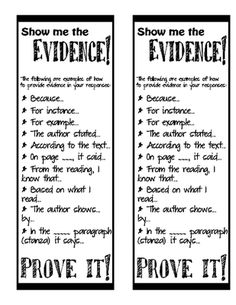 Show me the evidence bookmark from Having Fun and Loving Teaching on TeachersNotebook.com -  (1 page)