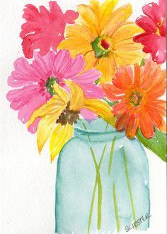Original watercolor Colorful zinnias sunflower by SharonFosterArt