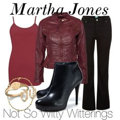 Cosplay - ''Martha Jones'' - Costume 1 (Inspiration) by notsowitty (Polyvore) - Featuring purple tank top, leather jacket and bootcut jeans (Doctor Who - BBC Series)  source: http://www.polyvore.com/martha_jones/set?id=102795469