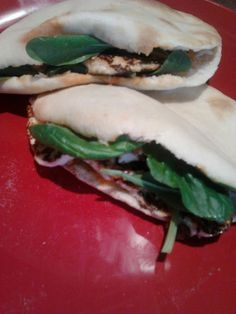 Homemade pita bread, filled with homemade halloumi cheese, spinach and red pepper mayo