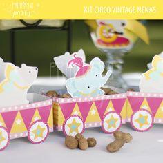 Cajitas Souvenir Kit Imprimible Circo Niñas. Favor box circus party.