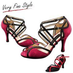 Hot Red Black 6/8.5CM High Heeled Latin Ballroom Salsa Dance Shoes Women Adult