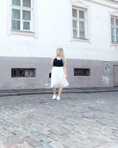 From Zara. Pic taken in Riga, Latvia on Midsummer. Riga Latvia, Pleated Midi Skirt, My Outfit, Zara, White Dress, Fitness, Skirts, Travel, Outfits