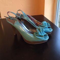 Madden Girl heels with ruffle Aqua Madden Girl heels with ruffle accent. Good condition. Madden Girl Shoes Heels