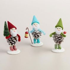 Vintage styled pinecone gnomes or elves