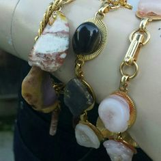 "Vintage 1970's Agate and Quartz Bracelet Set Goldtone agate and Quartz bracelet set. One of the stones has a piece broken off but In my opinion it just looks a bit more natural. Wear one alone or all 3 at once.  7.5"". Vintage Jewelry Bracelets"