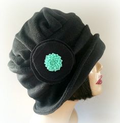 Black Winter HatFlapper Style Fleece Hatwith Side by TheWaughdrobe