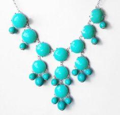 Silver Tone Chain Bubble BIB Statement Fashion Necklace - Turqoise