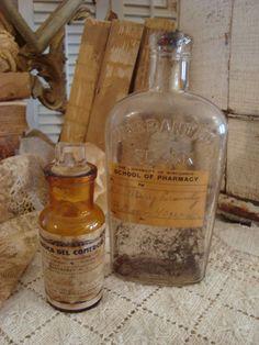 Vintage Pr Pharmacy Glass Shabby Bottles