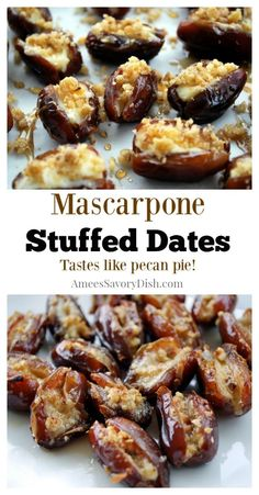 A scrumptious recipe for mascarpone stuffed dates that taste just like pecan pie but a much healthier dessert option. Not to mention, so easy! Healthy Dessert Options, Raw Dessert Recipes, Appetizer Recipes, Dinner Recipes, Vegetarian Appetizers, Date Recipes, Recipes With Dates, Cooking With Dates, Fingerfood Party
